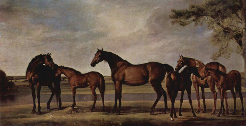 Stuten und Fohlen ?ngstigen sich vor einem heraufziehenden Unwetter | George Stubbs | oil painting
