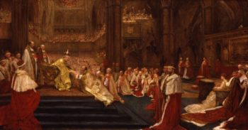 The Homage Giving   Westminster Abbey 9th August 1902 | John Henry Frederick Bacon | oil painting