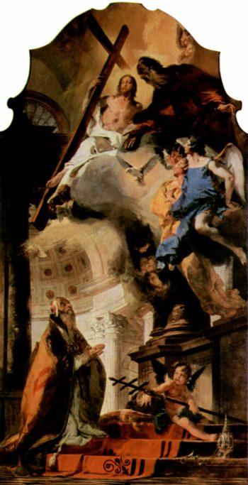 Der Papst Klemens I. betet zur Hl. Trinit?t | Giovanni Battista Tiepolo | oil painting