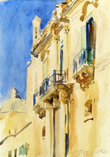 Facade of a Palazzo Girgente Sicily | John Singer Sargent | oil painting