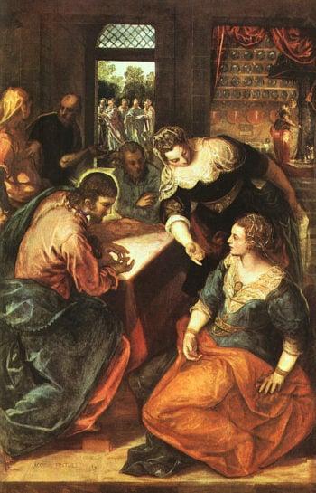 Christus bei Maria und Martha | Jacopo Tintoretto | oil painting