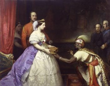 The Secret of Englands Greatness Queen Victoria presenting a Bible in the Audience Chamber at Windsor | Thomas Jones Barker | oil painting