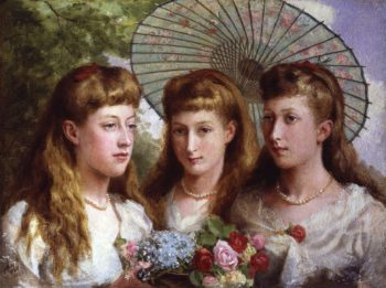 The three daughters of King Edward VII and Queen Alexandra | Sydney Prior Hall | oil painting