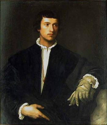 Portr?t eines Mannes mit Handschuhen English Title - Man with a Glove Fran?ais: L'Homme au gant | Tizian | oil painting