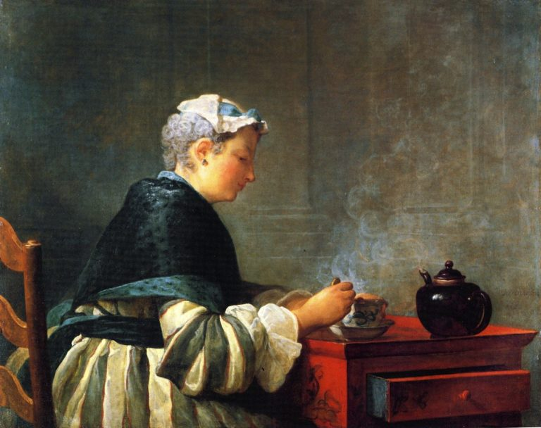 A Lady Taking Tea | Jean Baptiste Simeon Chardin | oil painting
