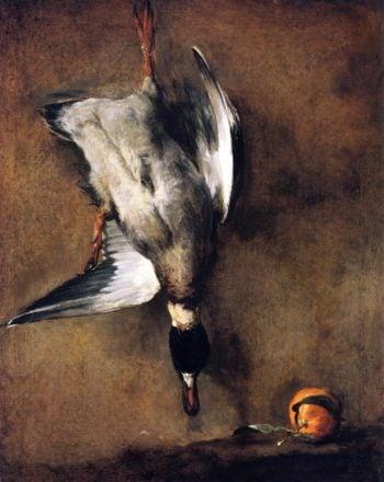 A Mallard Drake Hanging on a Wall and a Seville Orange | Jean Baptiste Simeon Chardin | oil painting