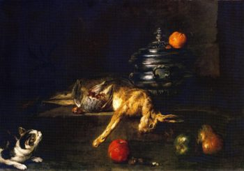 A Soup Tureen with a Cat Stalking a Partridge and Hare | Jean Baptiste Simeon Chardin | oil painting