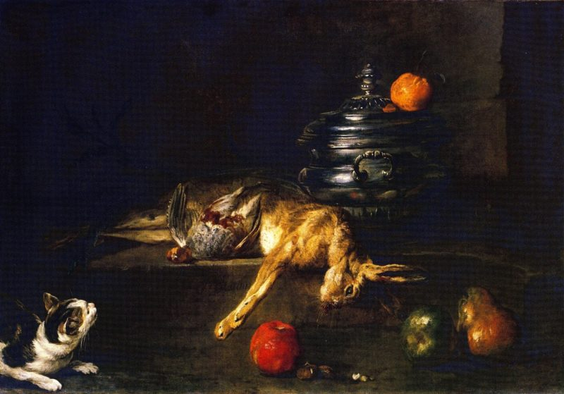 A Soup Tureen with a Cat Stalking a Partridge and Hare   Jean Baptiste Simeon Chardin   oil painting