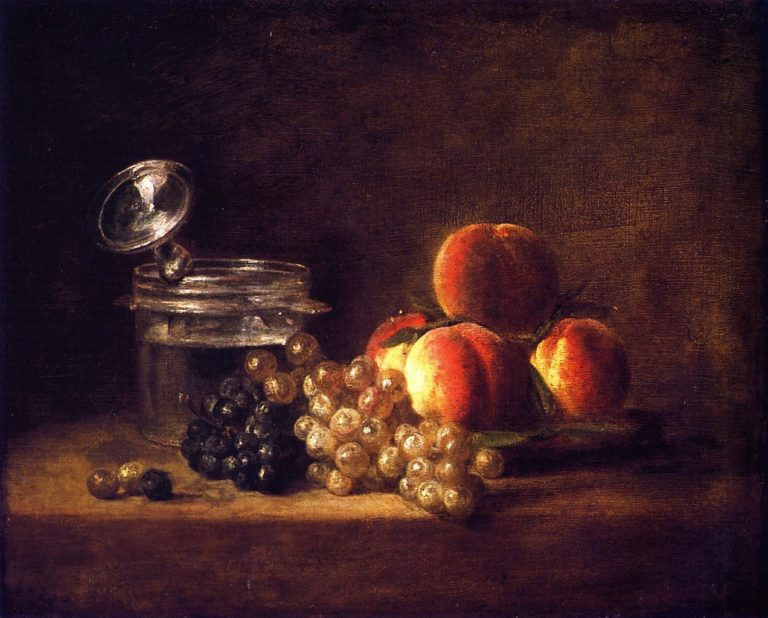 Basket of Peaches and Red and White Grapes with Wine Cooler and Stemmed Glass | Jean Baptiste Simeon Chardin | oil painting