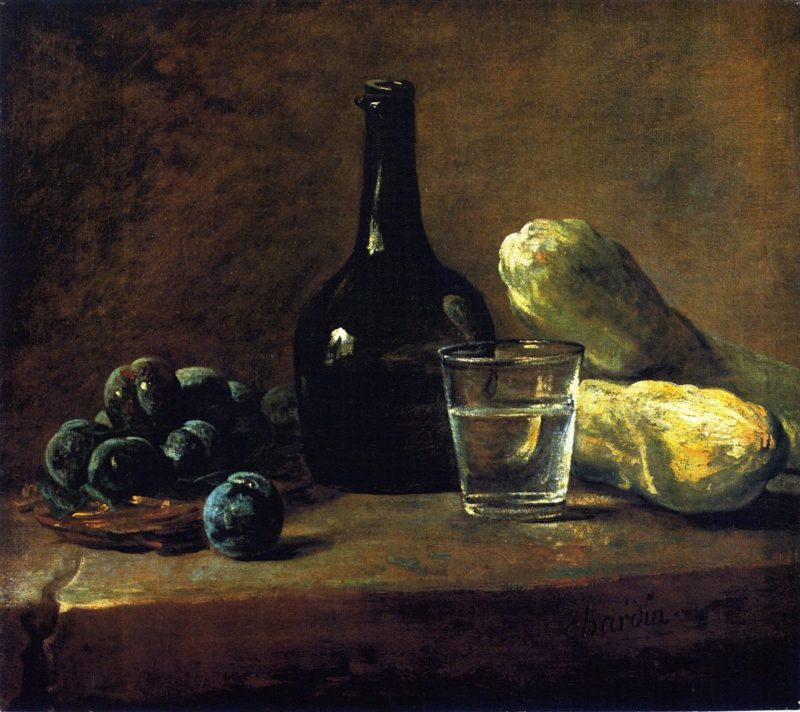Basket of Plums Bottle Glass of Water and cucumbers | Jean Baptiste Simeon Chardin | oil painting