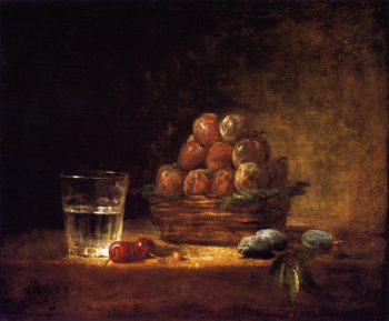 Basket of Plums with a Glass of Water Two Cherries a Cherry Stone and Three Green Almonds | Jean Baptiste Simeon Chardin | oil painting