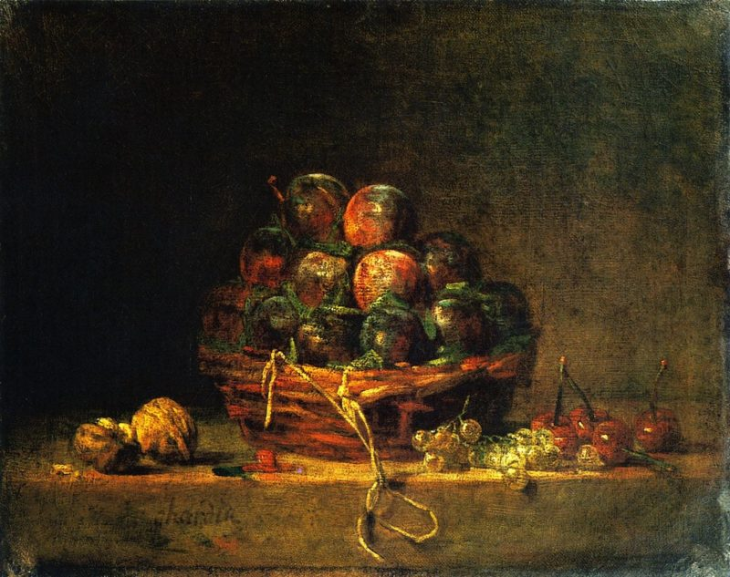 Basket of Plums with Walnuts Currants and Cherries | Jean Baptiste Simeon Chardin | oil painting