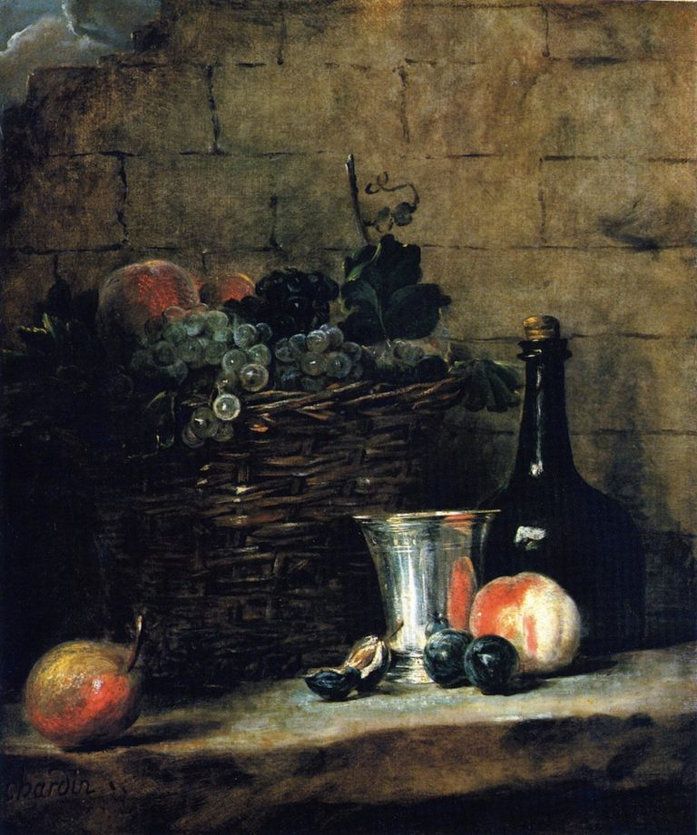 Basket of White and Red Grapes with Silver Goblet Bottle Peaches Plums and a Pear | Jean Baptiste Simeon Chardin | oil painting