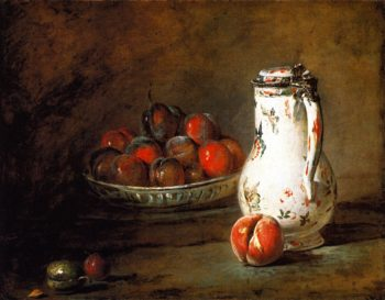 Bowl of Plums a Peach and Water Pitcher | Jean Baptiste Simeon Chardin | oil painting