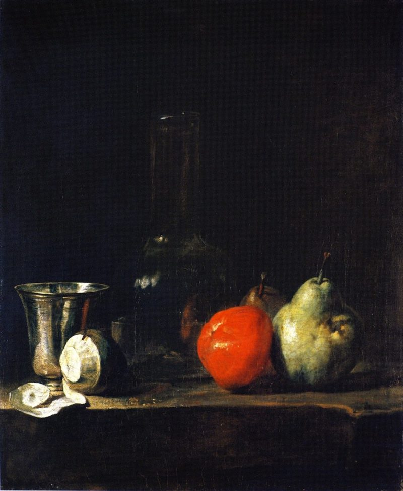 Carafe of Water Silver Goblet Peeled Lemon Apple and Pears   Jean Baptiste Simeon Chardin   oil painting