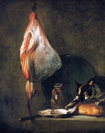 Cat with Ray Oysters Pitcher and Loaf of Bread | Jean Baptiste Simeon Chardin | oil painting
