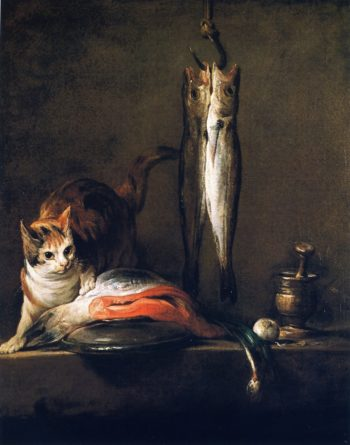Cat with Salmon Two Mackerel Pestle and Mortar | Jean Baptiste Simeon Chardin | oil painting