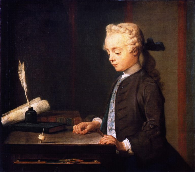 Child with Top or Portrait of Autuste Gabriel Godefroy | Jean Baptiste Simeon Chardin | oil painting