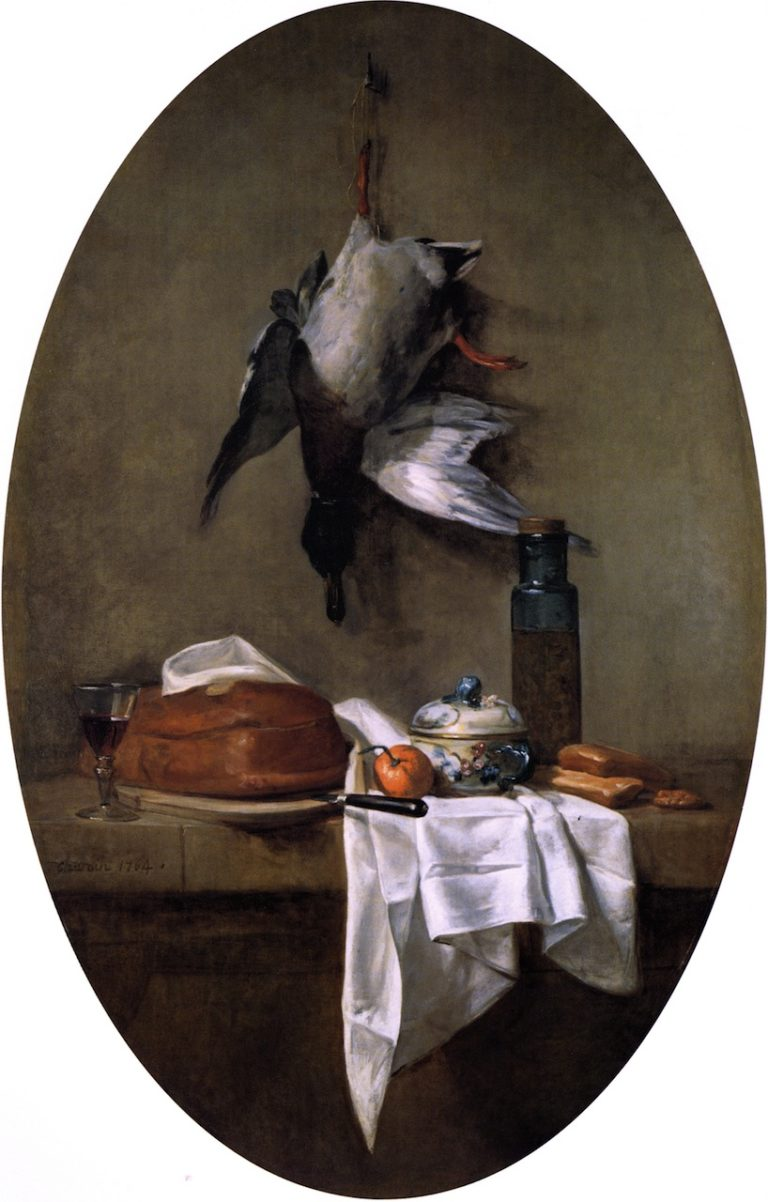 Duck Hanging by one Leg Pate Bowl and Jar of Olives | Jean Baptiste Simeon Chardin | oil painting