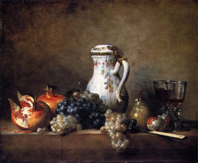 Grapes and Pomegranatest | Jean Baptiste Simeon Chardin | oil painting