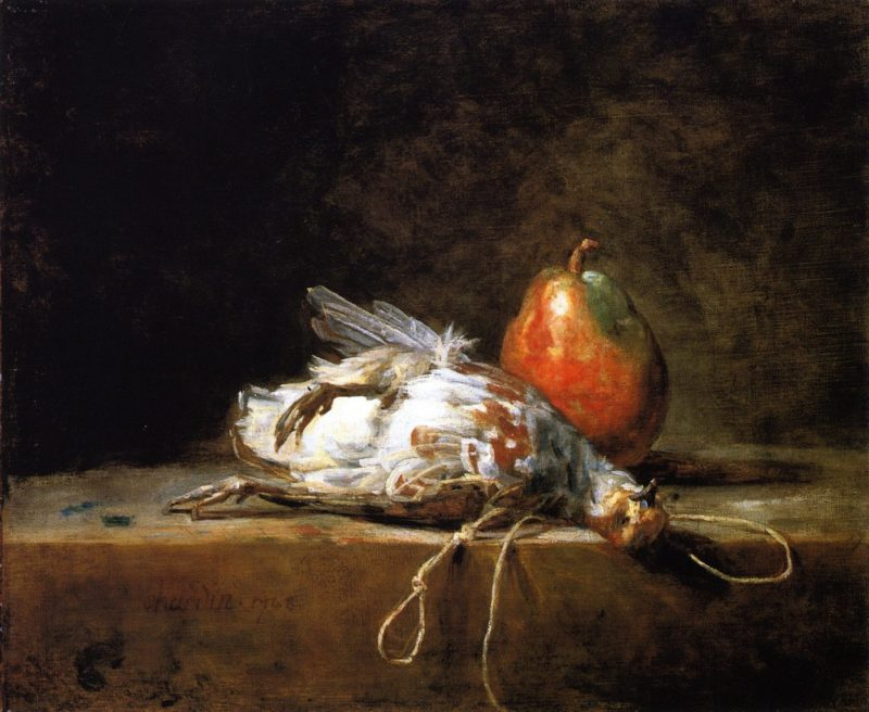 Grey Partridge Pear and Snare on a Stone Table | Jean Baptiste Simeon Chardin | oil painting