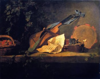 Musical Instruments and Basket of Fruit | Jean Baptiste Simeon Chardin | oil painting