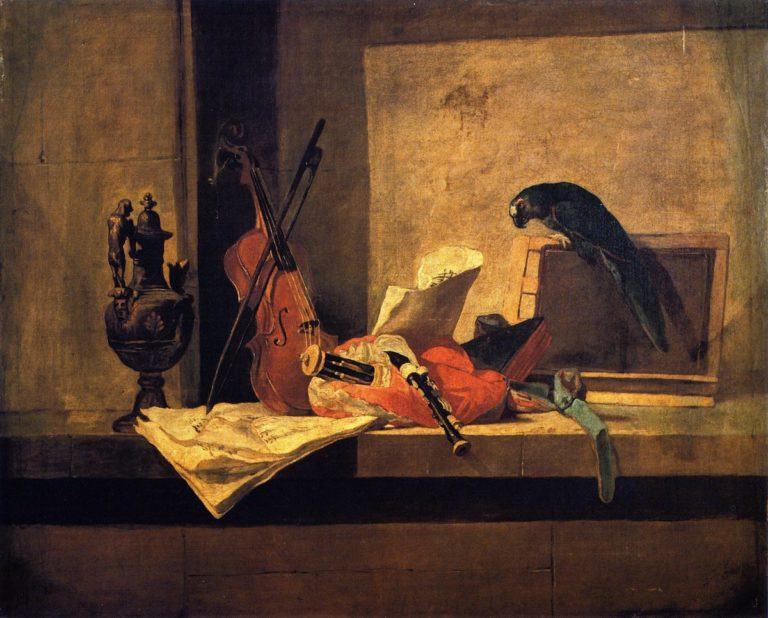 Musical Instruments and Parrot | Jean Baptiste Simeon Chardin | oil painting