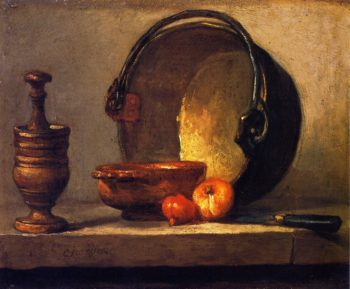 Pestle and Mortar Bowl Two Onions Copper Pot and Kettl | Jean Baptiste Simeon Chardin | oil painting