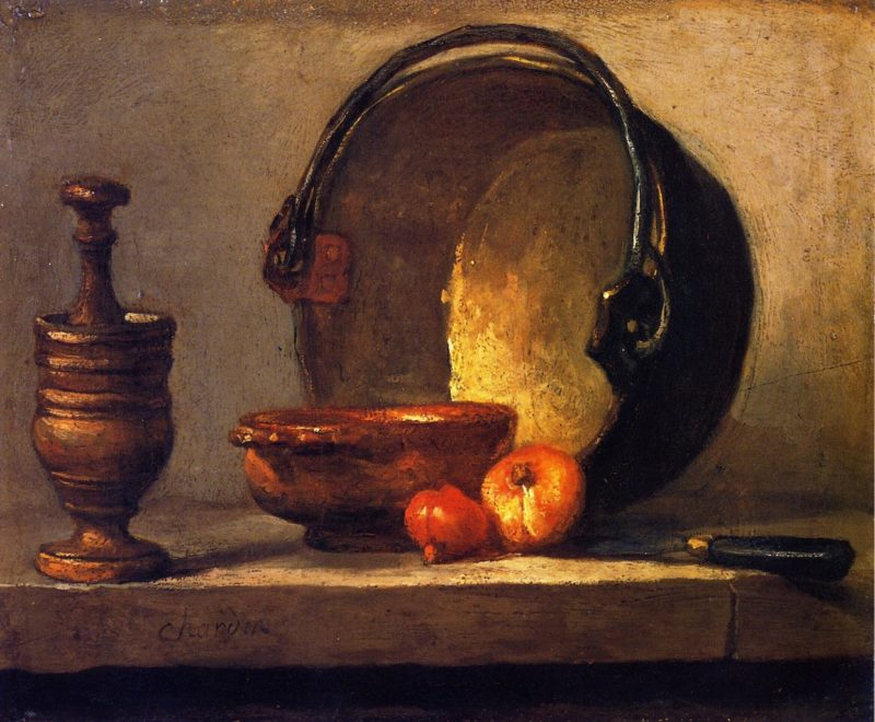 Pestle and Mortar Bowl Two Onions Copper Pot and Kettl   Jean Baptiste Simeon Chardin   oil painting