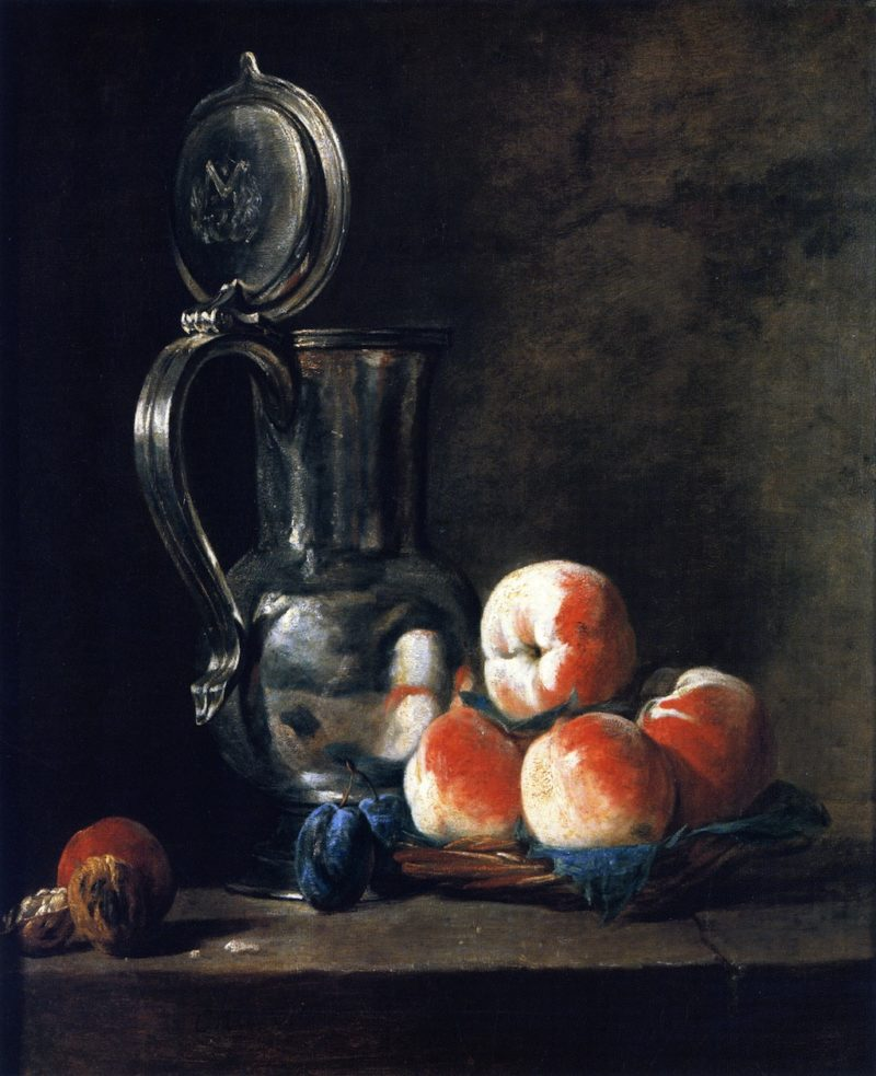 Pewter Jug with Basket of Peaches Plums and Walnuts | Jean Baptiste Simeon Chardin | oil painting