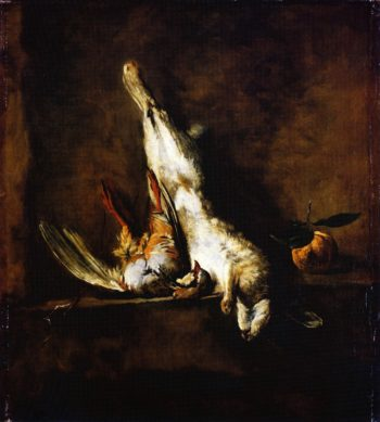 Rabbit with Red Partridge and Seville Orange | Jean Baptiste Simeon Chardin | oil painting