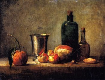 Seville Orange Silver Goblet Apples Pear and Two Bottles | Jean Baptiste Simeon Chardin | oil painting