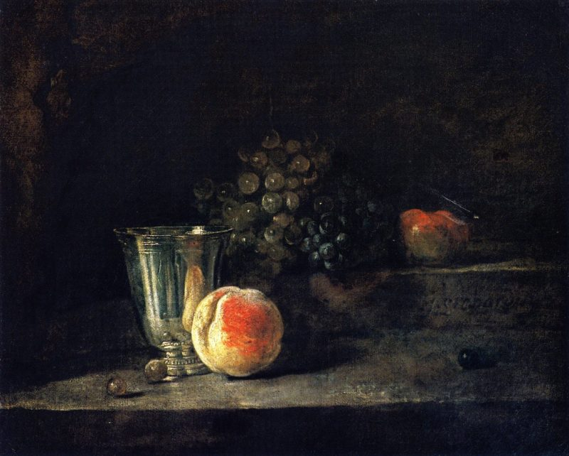 Silver Goblet Peach White and Red Grapes and Apple | Jean Baptiste Simeon Chardin | oil painting