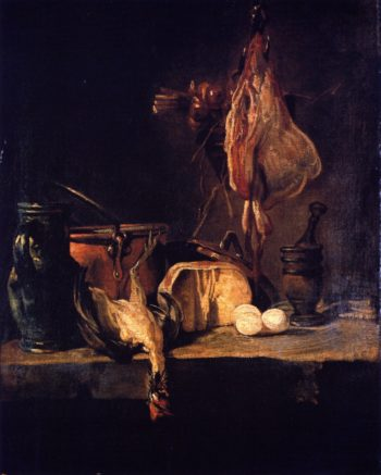 Still LIfe with Ray and Basket of Onions   Jean Baptiste Simeon Chardin   oil painting