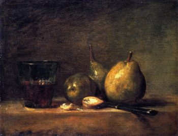 Three Pears Walnuts Glass of Wine and Knife | Jean Baptiste Simeon Chardin | oil painting