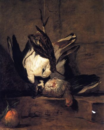 Tufted Lapwing Grey Partridge Snipe and Seville Orange | Jean Baptiste Simeon Chardin | oil painting