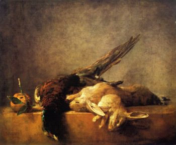 Two Rabbits a Pheasant and a Seville Orange on a Stone Ledge | Jean Baptiste Simeon Chardin | oil painting