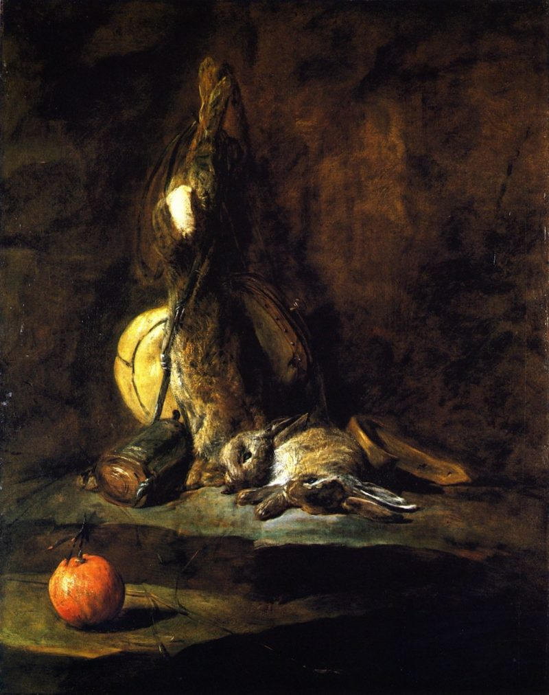 Two Rabbits with Game Bag Powder Flask and Orange | Jean Baptiste Simeon Chardin | oil painting