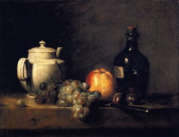 White Teapot with White and Red Grapes Apple Chestnuts Knife and Bottle | Jean Baptiste Simeon Chardin | oil painting