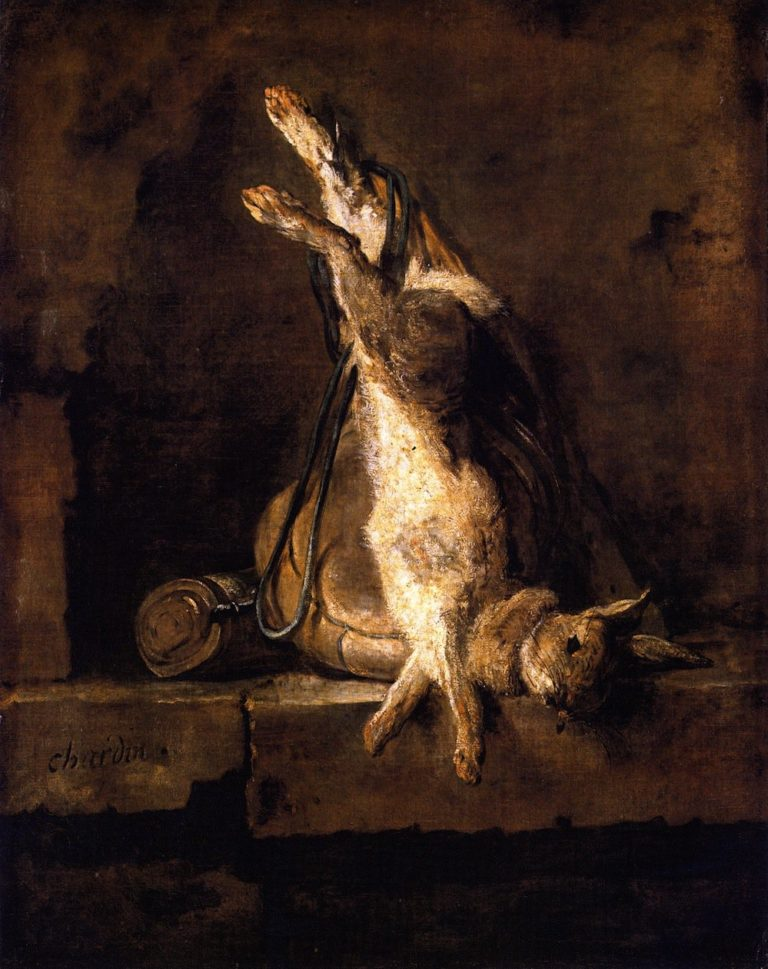 Wild Rabbit with Game Bag and Powder Flask | Jean Baptiste Simeon Chardin | oil painting