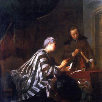 Woman Sealing a Letter | Jean Baptiste Simeon Chardin | oil painting