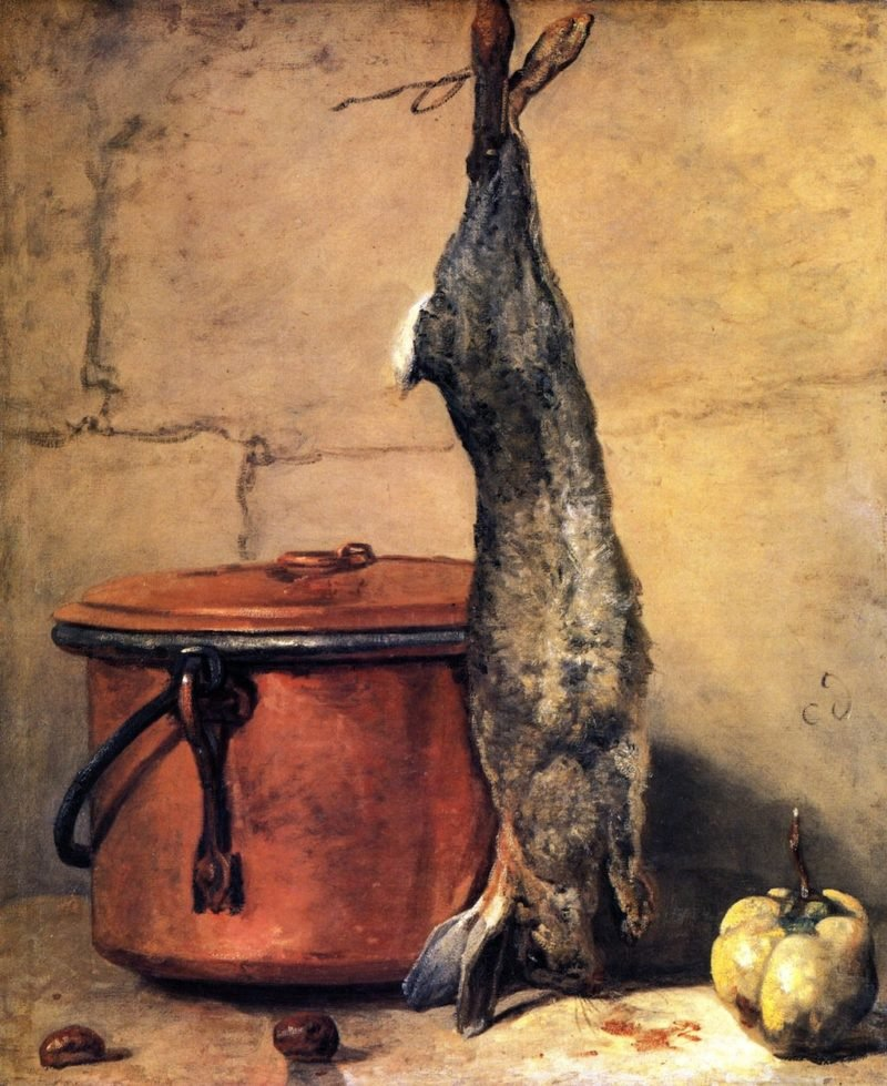 Rabbit with Copper Cauldron and Quince | Jean Baptiste Simeon Chardin | oil painting
