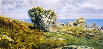 Rock Study on St Agnes Scilly Isles | John Edward Brett | oil painting