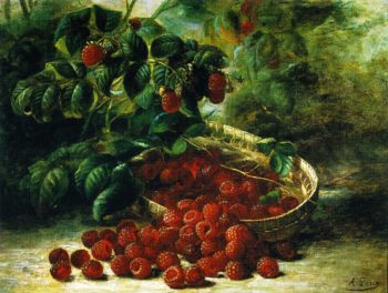 Raspberries in a Basket | August Laux | oil painting