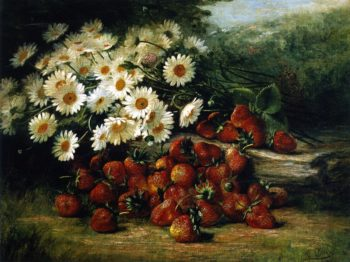Strawberries and Dasies | August Laux | oil painting
