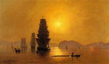Smoky Sunrise Astoria Harbor | Cleveland Rockwell | oil painting