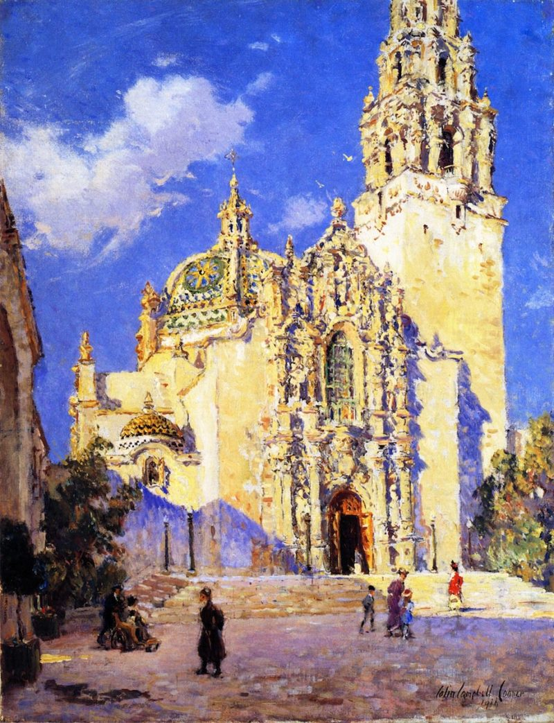 California State Building San Diego Exposition   Colin Campbell Cooper   oil painting