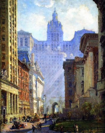 Chambers Street and the Municipal Building NYC | Colin Campbell Cooper | oil painting
