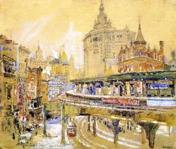 Chatham Square New York   Colin Campbell Cooper   oil painting