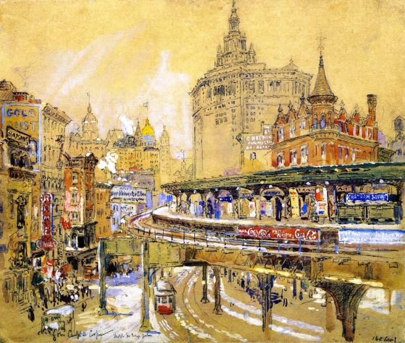 Chatham Square New York | Colin Campbell Cooper | oil painting